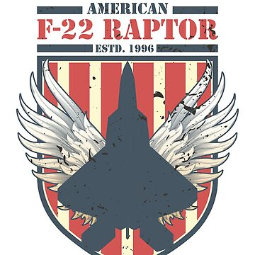 F-22 Raptor American Fighter jet | Distressed Flag T-Shirt by JohnPhillips