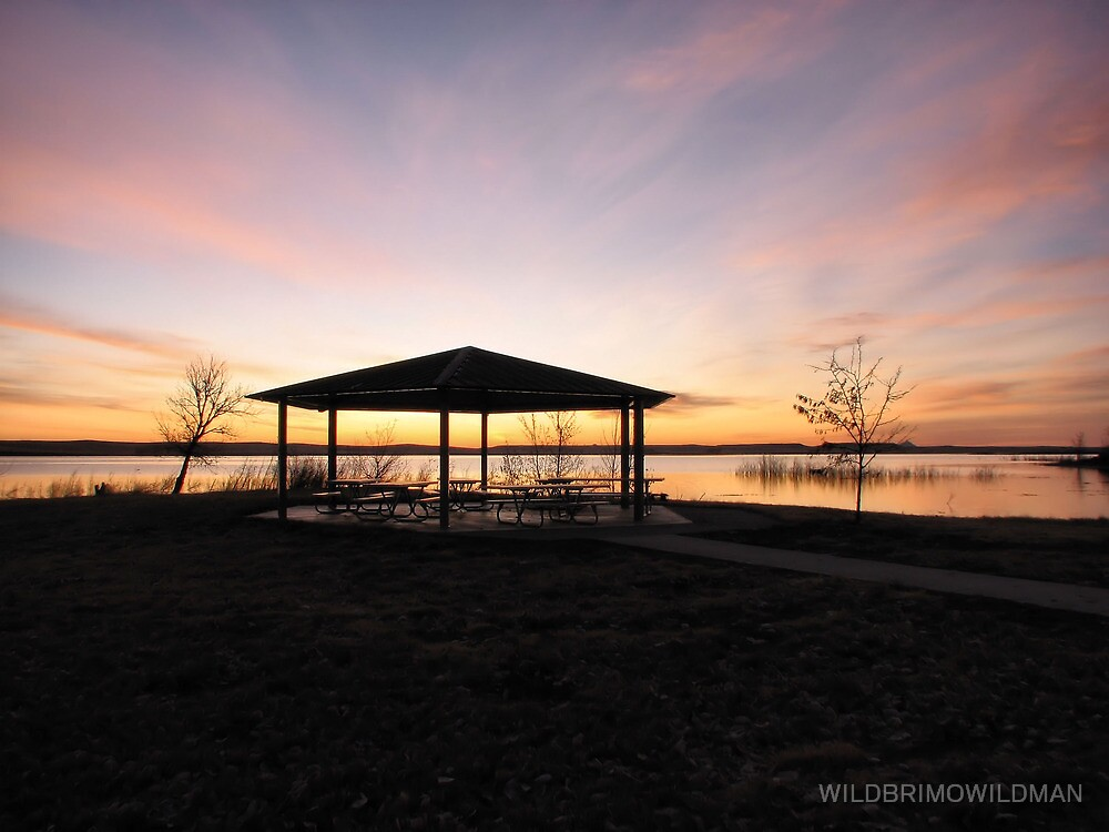 Picnic Shelter At Sunrise by WILDBRIMOWILDMAN