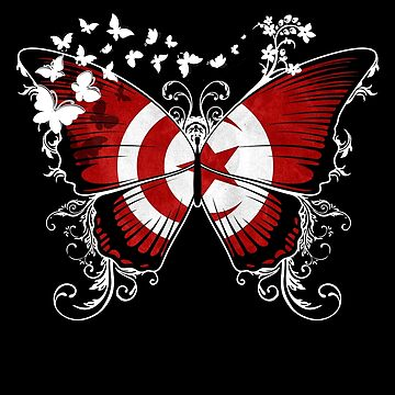Tunisia Flag Butterfly Tunisian National Flag DNA Heritage Roots Gift  by nikolayjs