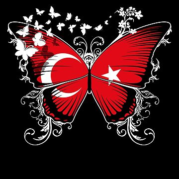 Turkey Flag Butterfly Turkish National Flag DNA Heritage Roots Gift  by nikolayjs