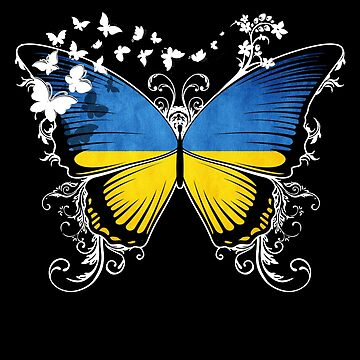 Ukraine Flag Butterfly Ukrainian National Flag DNA Heritage Roots Gift  by nikolayjs
