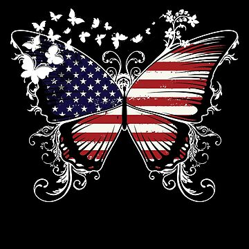 USA Flag Butterfly American National Flag DNA Heritage Roots Gift  by nikolayjs
