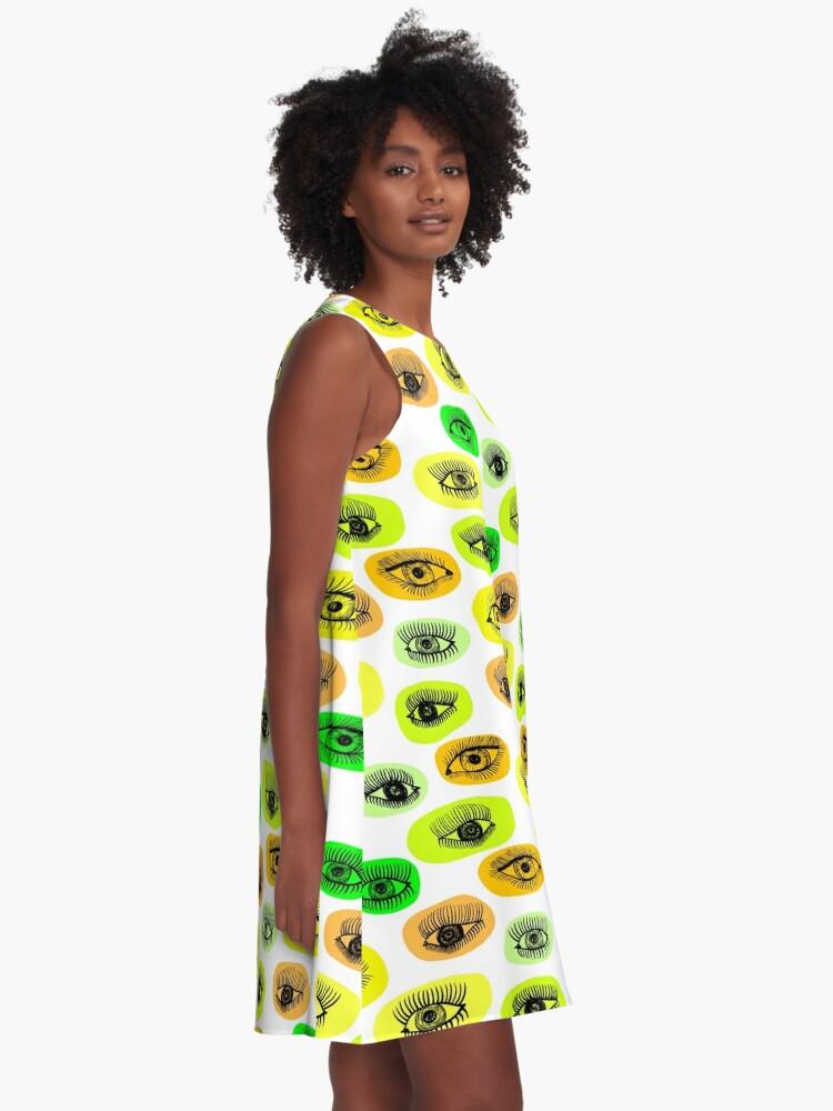 Alternative Ansicht von Augenmotiv A-Linien Kleid