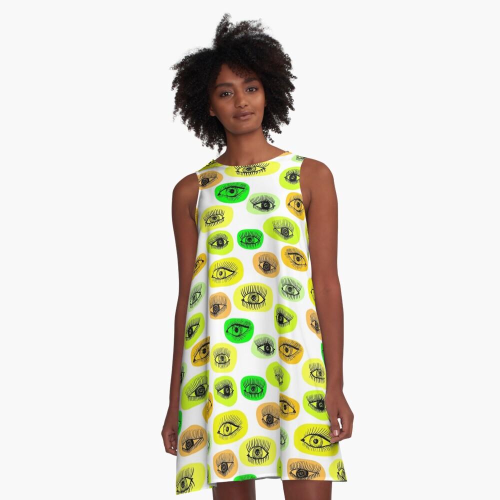 Augenmotiv A-Linien Kleid