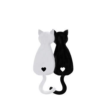 black cat white cat yin yang  by narais