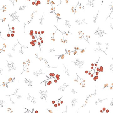 Autumn hand painted watercolor orange gray berries floral  by Kicksdesign