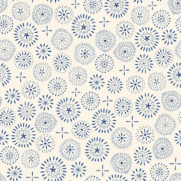 indigo stamp style circles by swoldham