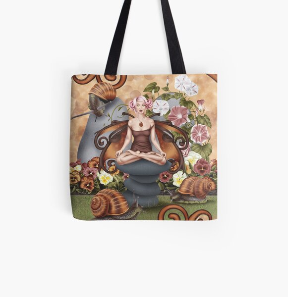 Snail Fairy Yoga Pose Garden Meditation All Over Print Tote Bag