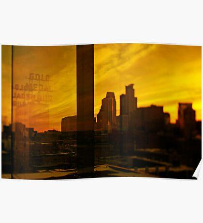 golden minneapolis skyline . minnesota Poster
