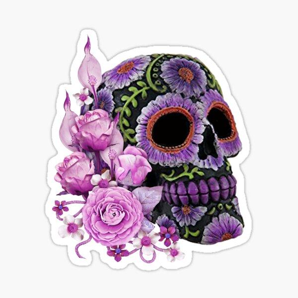 Pink Floral Black Sugar Skull Day Of The Dead Sticker