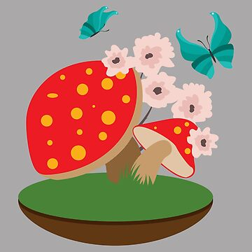 Forest Child - Mushroom Flowers and Butterfly - Gift Idea by vicoli-shirts