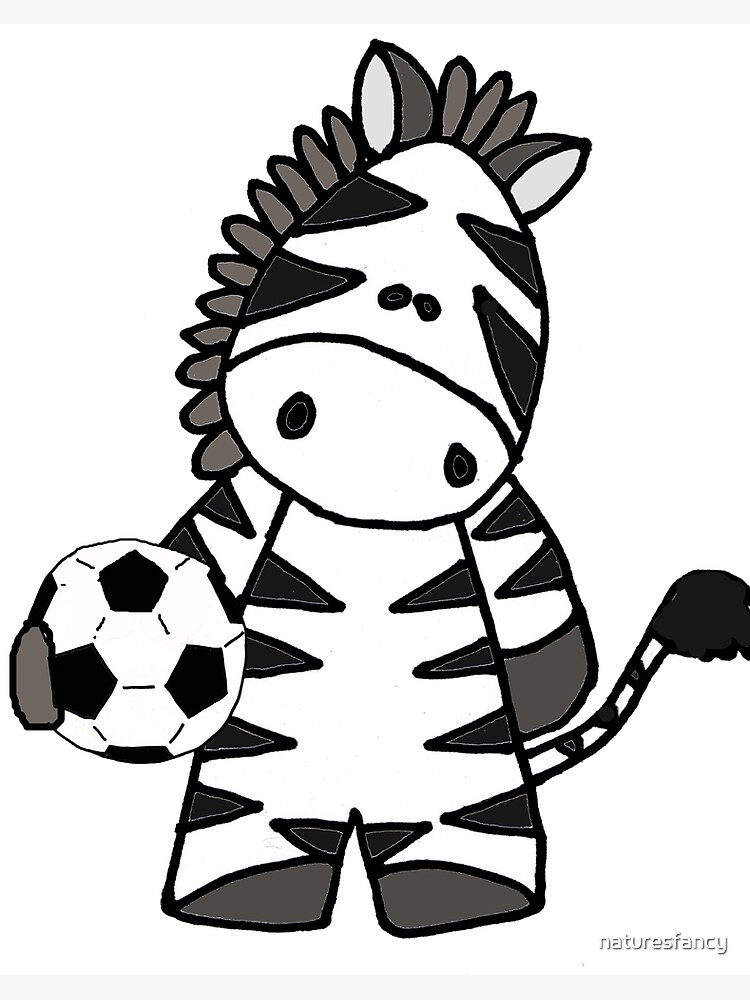 Cool Funny Zebra Playing Football Cartoon Art Board Print By Naturesfancy Redbubble