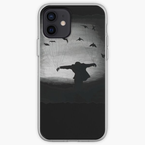 Man In flight with ravens iPhone Soft Case