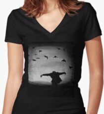 Man In flight with ravens Women's Fitted V-Neck T-Shirt