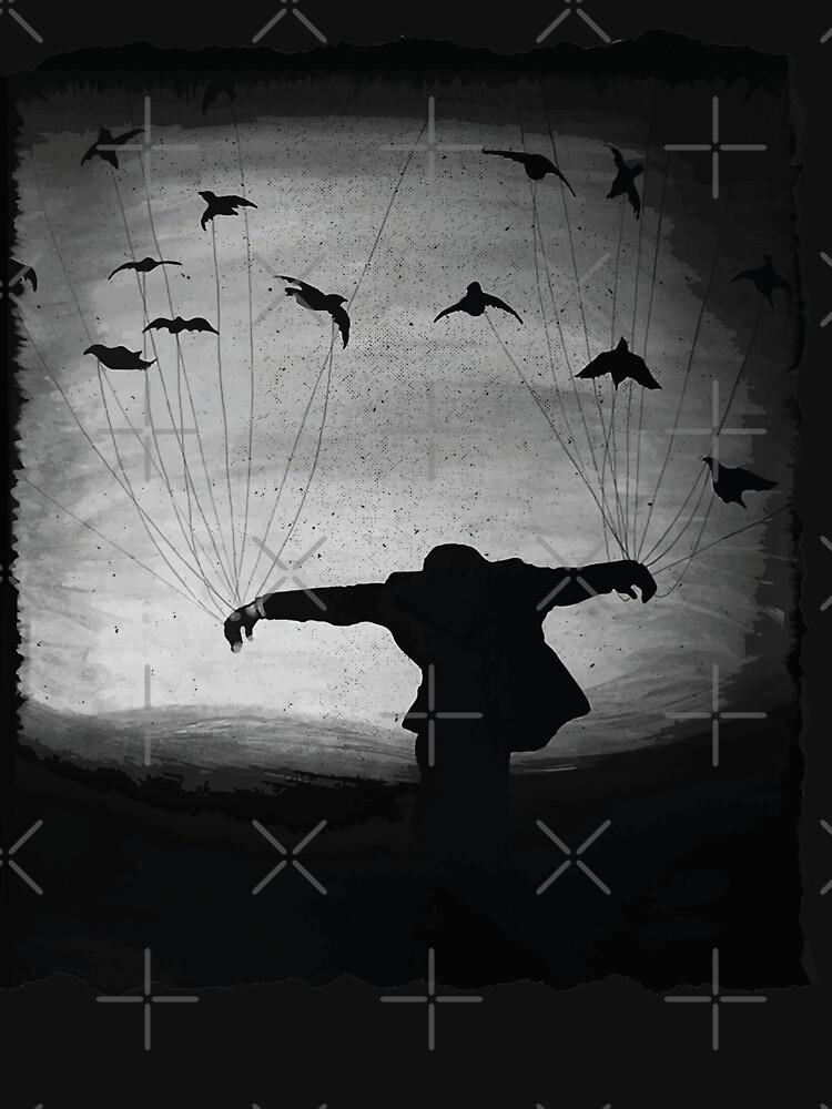 Man In flight with ravens by jesseladret