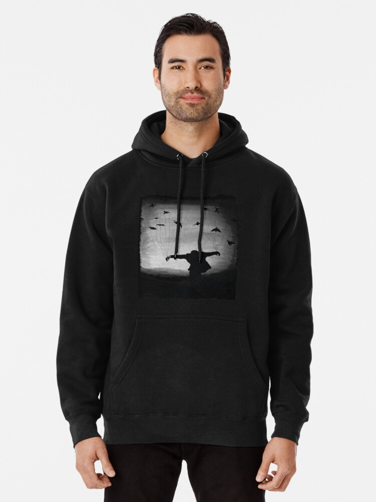 Alternate view of Man In flight with ravens Pullover Hoodie