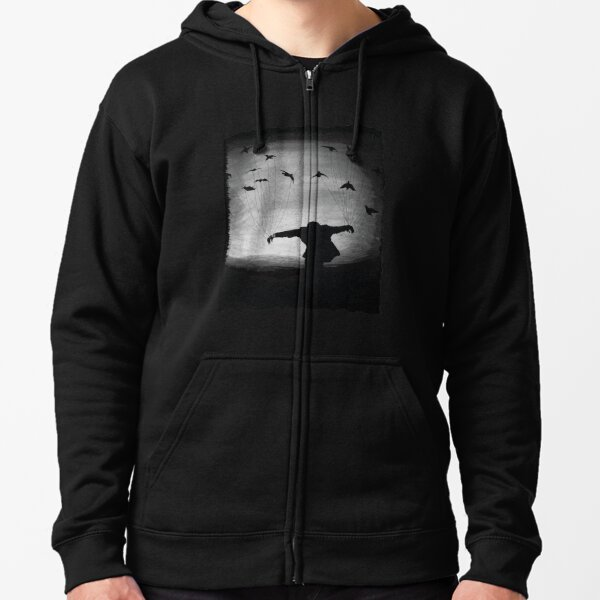 Man In flight with ravens Zipped Hoodie