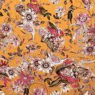 Elegant Orange Magenta Fall Floral Pattern by tanjica