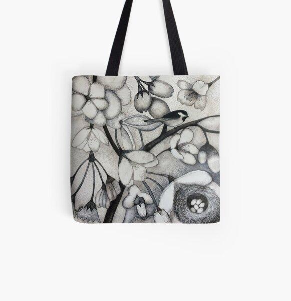 Nesting Chickadee All Over Print Tote Bag