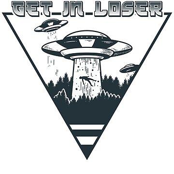 Alien Shirt, Get in loser, alien tee, ufo alien, space alien, alien print by theodoros20