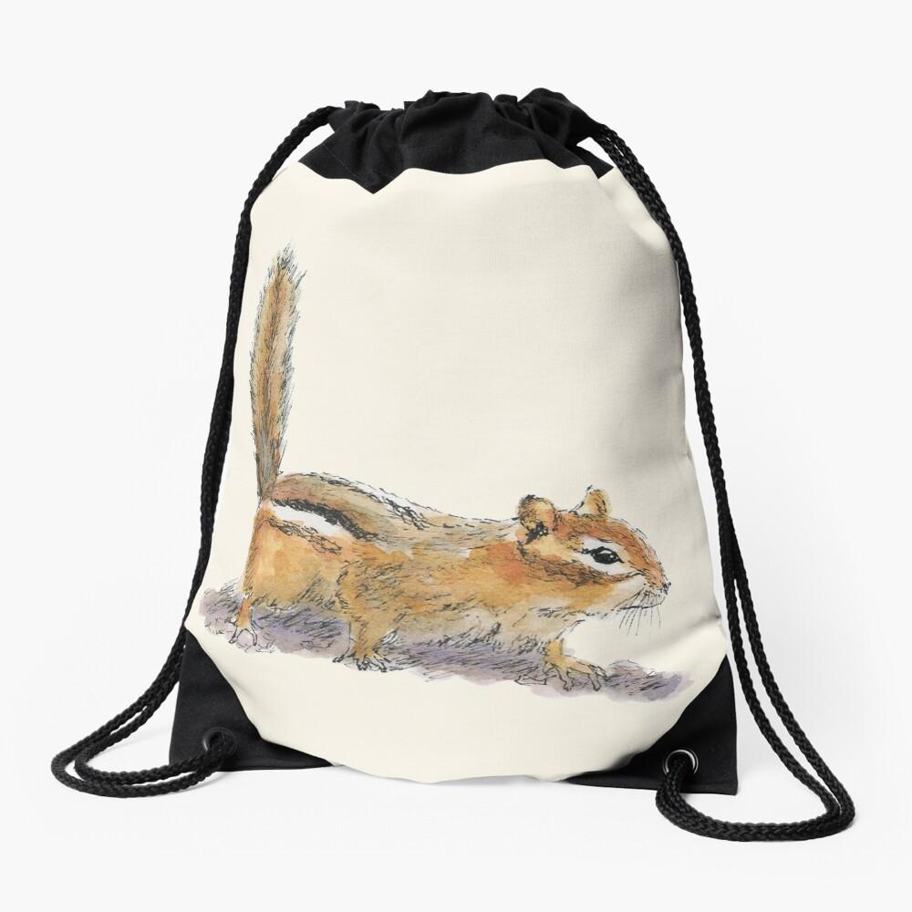 Curious Chipmunk Drawstring Bag