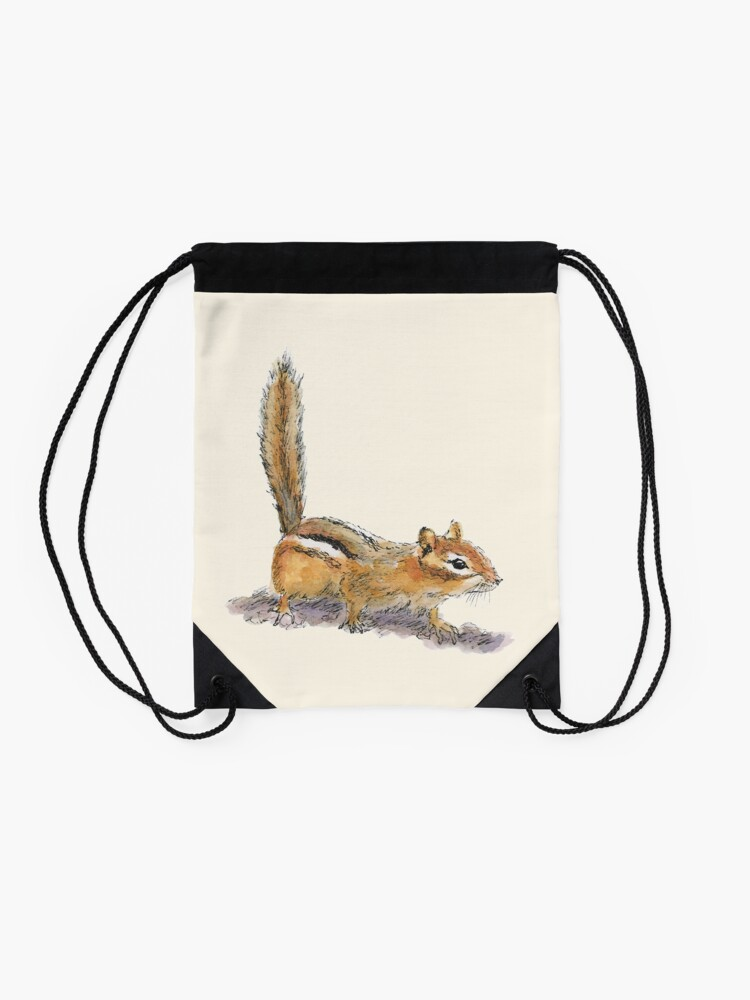 Alternate view of Curious Chipmunk Drawstring Bag