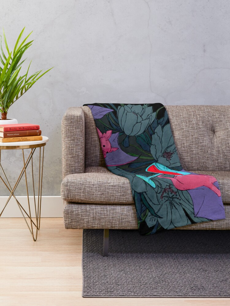 Alternate view of party bats Throw Blanket