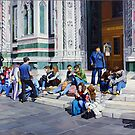 Sitting on the Steps of the Duomo - Oil Painting by Matthew  Bates
