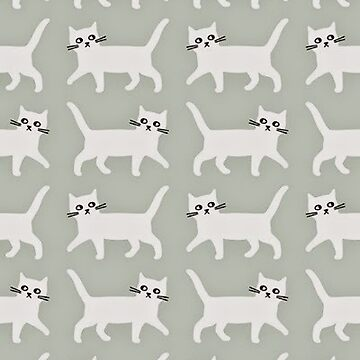 Little White Cats on a Grey Background by paigehavlin