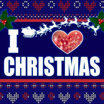 I Heart Christmas Santa on Sleigh Reindeer by Bullish-Bear