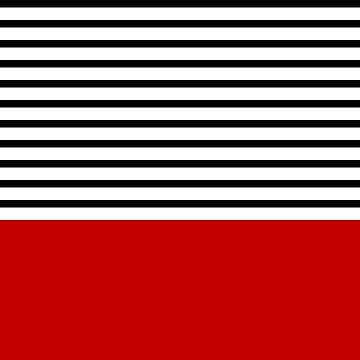 Black And White Stripes Above Cherry Red by rewstudio