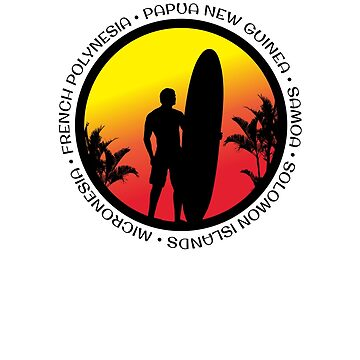 South Pacific Surfing Cool Sunset Surfer Palm Tree by hlcaldwell