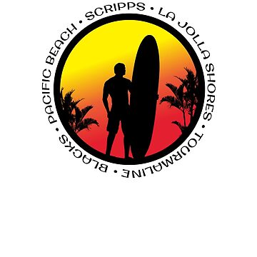 San Diego Surfing Cool Sunset Surfer Palm Tree by hlcaldwell