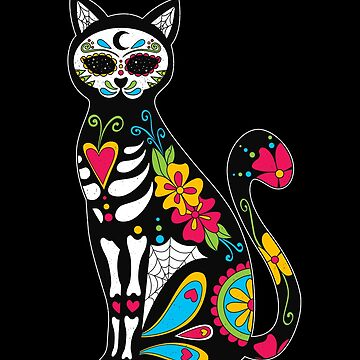 Dia de los Muertos Cat Sugar Skull Cat Day of the Dead Cat by nvdesign