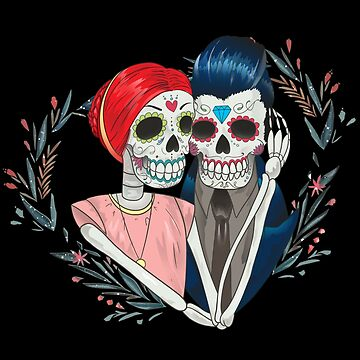Dia De Los Muertos Couple Dead Sugar Skull Bride and Groom Wedding by nvdesign