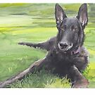 black dog lying in the grass watercolor by Mike Theuer