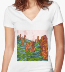 Eastern Island Women's Fitted V-Neck T-Shirt