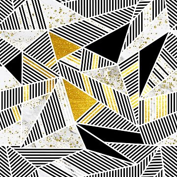 Polygon Triangles - black, gold and golden sparkles on white marble by cadinera