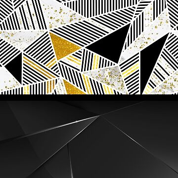 Black and Gold Polygon Triangles Gilded With Luxury Opal Polygon Triangles by cadinera