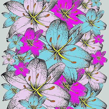Pink and Blue Lilly Bouquet  by Surrealist1