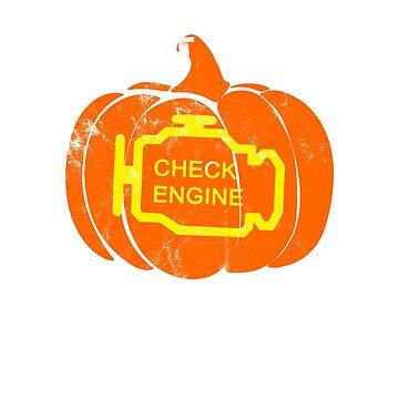 Halloween Check Engine Pumpkin  by MOAOUN