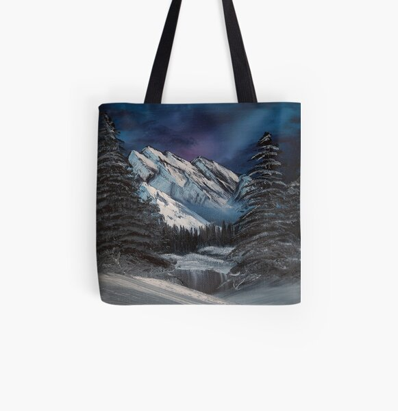 Bob Ross inspired night landscape painting All Over Print Tote Bag