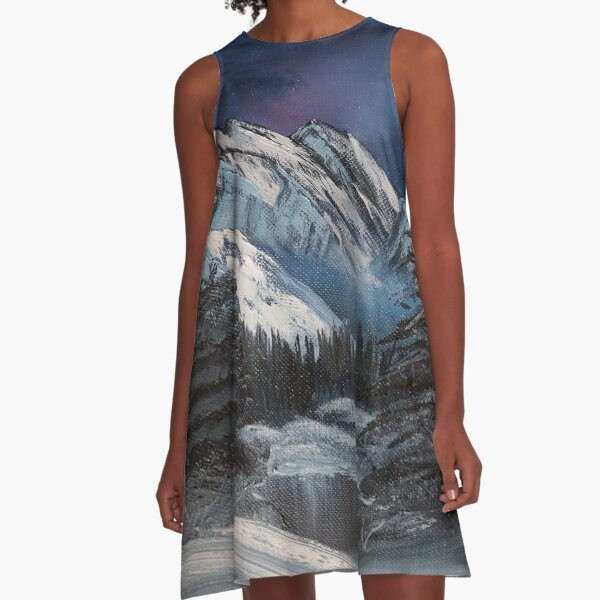 Bob Ross inspired night landscape painting A-Line Dress