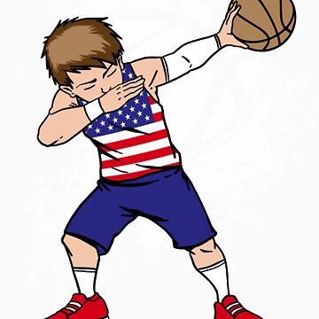 Dabbing basketball USA gift by LikeAPig