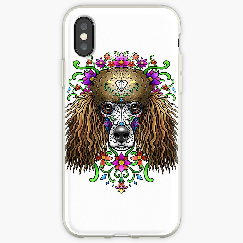 Poodle Day Of The Dead Dog Sugar Skull iPhone Case & Cover