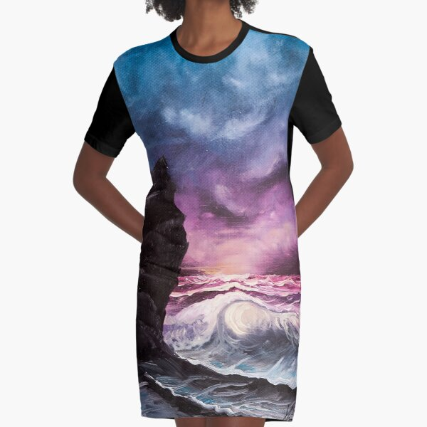 Ocean Sunset Bob Ross style seascape painting Graphic T-Shirt Dress
