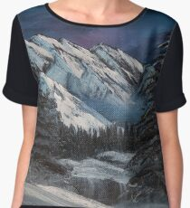 Bob Ross inspired night landscape painting Chiffon Top