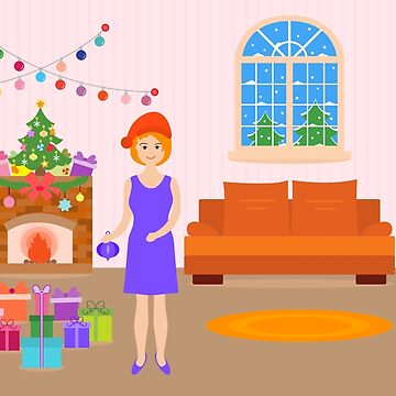 Living room decorated for Christmas, New Year. by aquamarine-p