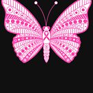 Pink Ribbon Breast Cancer Awareness Tribal Butterfly  by mrhighsky