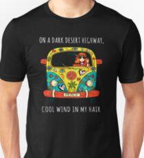 Hippie on the dark desert Unisex T-Shirt
